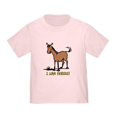 CafePress I Love Horses Cute Toddler T Shirt Cute Toddler T-Shirt, 100% Cotton Pink