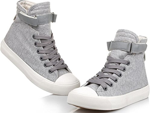 Mens Casual High Top Flat Canvas Shoes Fashion Sneakers Grey xexgv