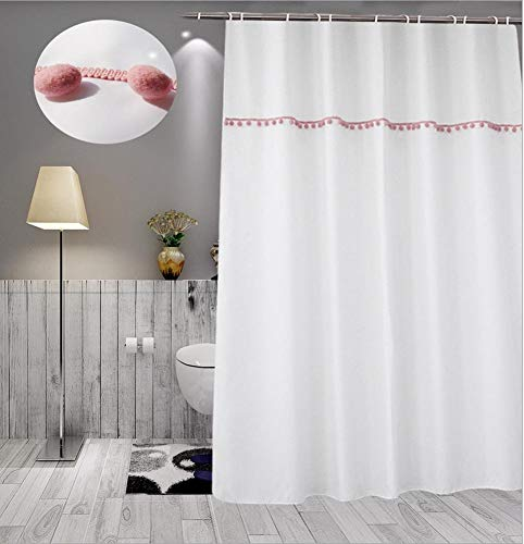 JaHGDU Shower Curtain 1pcs White Shower Curtain White 90180cm Curtains Polyester Material Mildewproof Thickened Bathroom Amenities No Deformation Does Not Fade (Color : White, Size : 180180cm) by JaHGDU (Image #1)
