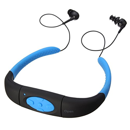 Efanr Head Mounted Waterproof MP3 Player, with Hi-fi Stero Earphone Headphone Headset for Swimming, Surfing, Diving, Underwater Sport, Music Player Built-in 8GB Memory & Rechargeable Battery