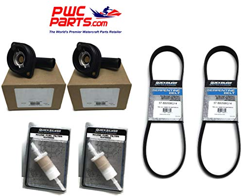 PWC Parts Co Mercury Twin Verado Outboard Tune-Up Kit L6 200/225/250/275/300/350/400HP 400R in-Line Fuel Filter Serpentine Belt 879885Q ()