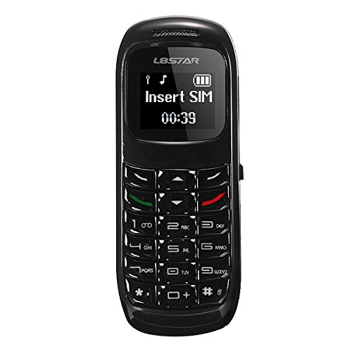 GTStar L8Star BM70 Mini bluetooth handset phone 0.66 inch Unlocked Mini Mobile Phone Bluetooth Earphone Dialer Single SIM Card (Black-BM70) by GTstar