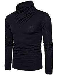 "<span class=""a-offscreen"">[Sponsored]</span>Men's Casual Long Sleeve Pullover Cotton T-Shirt, Fashion Solid Wrap Neck Tee"