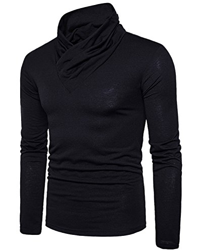 Mens Designer T-shirts - Men's Casual Long Sleeve Pullover Cotton T-Shirt, Fashion Solid Wrap Neck Tee Black Small