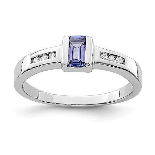 925 Sterling Silver Blue Tanzanite Diamond Band Ring Size 7.00 Stone Gemstone Fine Jewelry Gifts For Women For - Ring Diamond Round Tanzanite
