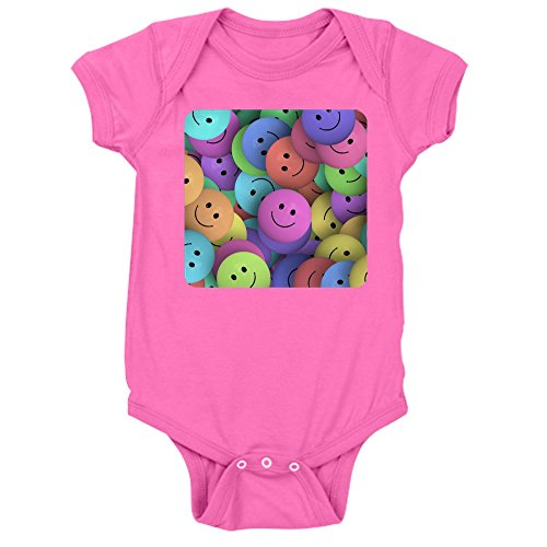 (Truly Teague Infant Bodysuit Dark Lots Of Pastel Smiley Faces - Raspberry, 18 To 24 Months)