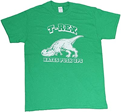 T-Rex Hates Push Ups Funny Mens Unisex T-shirt Kelly Green