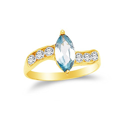 Marquise Created Moissanite Ring (Size - 8 - 14k Yellow Gold Highest Quality CZ Cubic Zirconia Fancy Fashion Marquise Ring)
