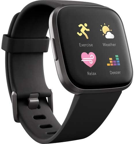 FitBit Versa 2 Smartwatch with Band (Black/Carbon Aluminum) Bundle with Power Bank, 2-Port USB Car Adapter, Two USB Wall Adapters, 6Ave Cleaning Kit, and 1 Year Extra Warranty