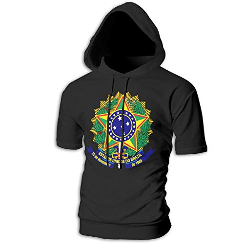 X-JUSEN Men's Coat of Arms of Brazil National Emblem Short Sleeve Hoodies Hooded Sweater Jumpsuits Suit