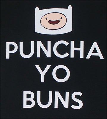 Adventure Time Finn Punch-A Yo Buns Men's T-Shirt, Black, Small