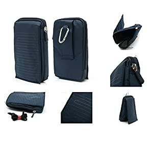 DFV mobile® - Funda Multiusos con Varios Compartimentos para Cinturon y Mosqueton para => Oukitel K6000-PREMIUM > AZUL (16 x 9.5 cm)