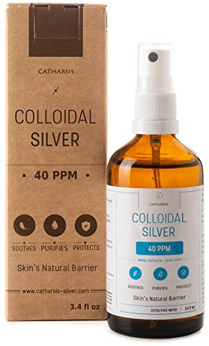 Highest Purity Colloidal Silver Spray 40 PPM 3.4oz ● Superior Concentration, Smaller Particles, Better Results ● Premium All Natural Antibacterial, Antifungal & Antivirus ● Catharsis ®