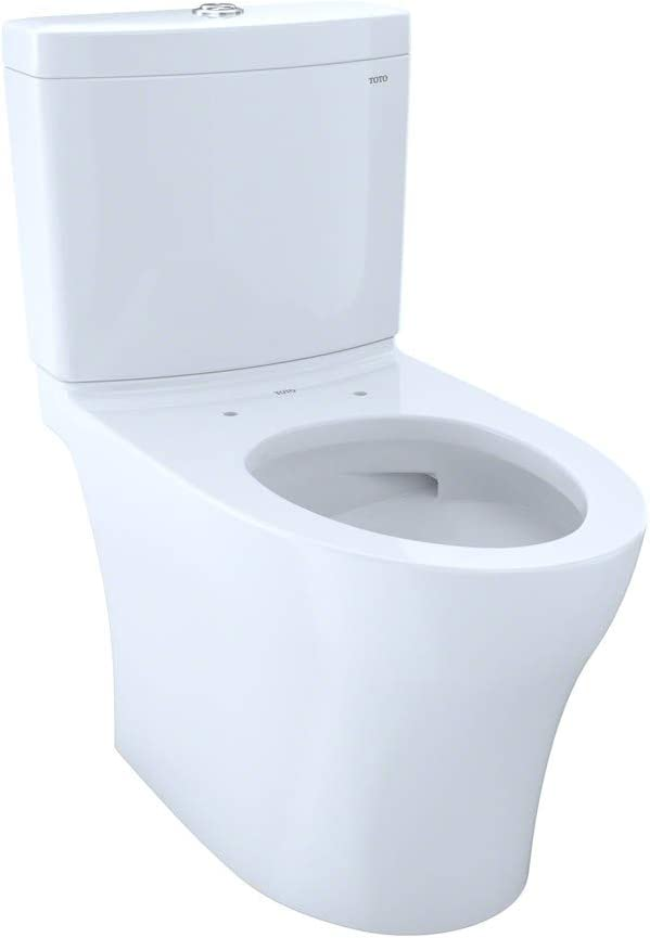 TOTO CST446CUMG#01 Aquia IV 1G Elongated Dual Flush 1.0 and 0.8 GPF Skirted CEFIONTECT two-piece-toilets, Cotton White - -