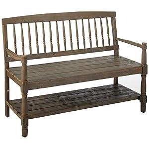 Eddie Indoor Farmhouse Acacia Wood Bench with Shelf, Teak Finish
