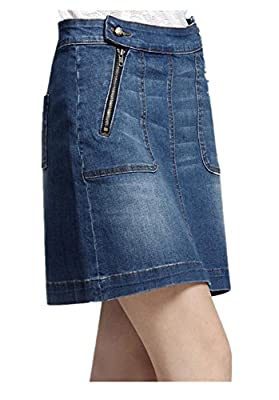 Lingswallow Women's Blue Vintage High Waist A Line Pencil Mini Denim Jean Skirt