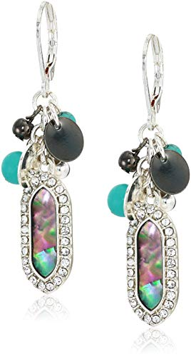 (Chaps Women's Silver-Tone Cluster Drop Earrings, Abalone)