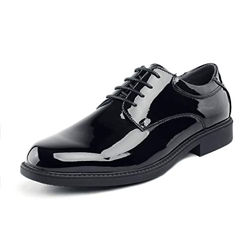 Bruno Marc Men's Downing-02 Black Pat Leather Lined Dress Oxfords Shoes - 12 M US -