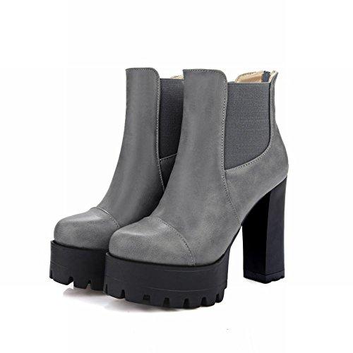 Heel Boots High Women's Modern Platform Solid Zip Carolbar Color Grey Short wfqnpxPqOC
