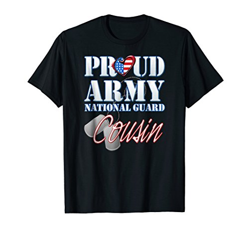 Proud Army National Guard Cousin USA Heart Flag - Shirts National Guard Army
