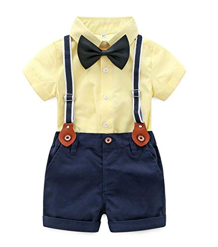 Baby Boys Short Sleeve Gentleman Outfits Suits Shirt Suspender Pants with Bowtie Infant Overalls Clothing - Boys Overalls Yellow