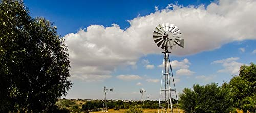 Countryside Windmill - Home Comforts Peel-n-Stick Poster of Wheel Rural Landscape Clouds Countryside Windmill Vivid Imagery Poster 24 x 16 Adhesive Sticker Poster Print