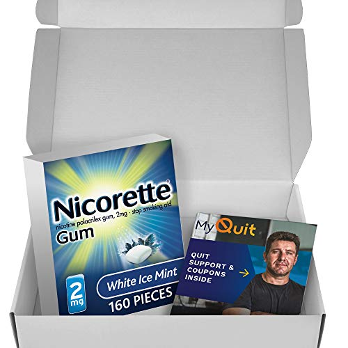 Nicorette Nicotine Gum to Stop Smoking, with Quit Support System, White Ice Mint, 2mg, 12 Weeks Quit Smoking Aid, 160…