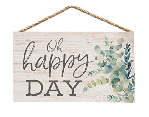 P. GRAHAM DUNN Oh Happy Day Greenery Whitewash 6 x 3.5 Wood Mini Wall Hanging Plaque Sign]()
