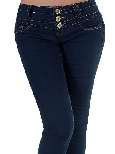 Diva Mujer Liso Vaqueros Skinny Para Azul jeans zzZqU