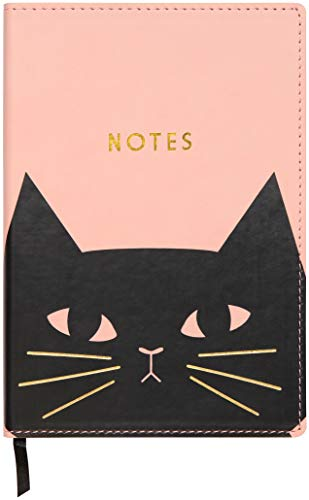 - C.R. Gibson Pink 'Black Cat' Leatherette Journal Notebook, 160 Pages, 5.5