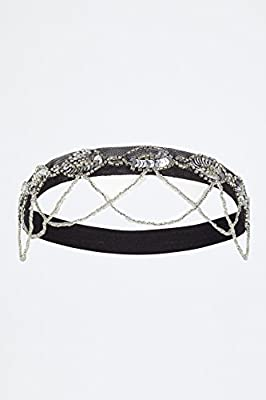 Shirley Dropbeads Vintage Inspired Headband Black Silver