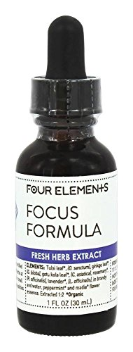 Four Elements Herbals - Fresh Herb Extract Tincture Focus Formula - 1 oz.
