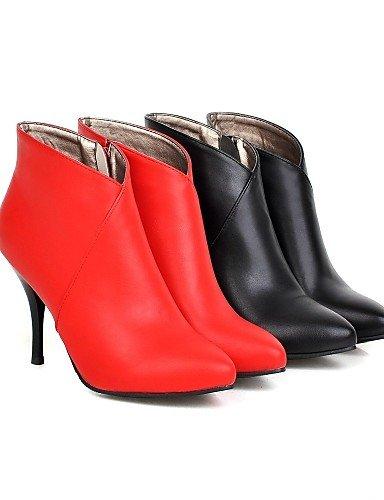 Uk6 us8 5 Zapatos Vestido Eu38 Red De Puntiagudos Red Botas Eu39 Rojo Uk5 A Tacón us7 5 Cn39 Negro Mujer Moda Stiletto Xzz Cn38 La Semicuero TAwdxFqAZ1