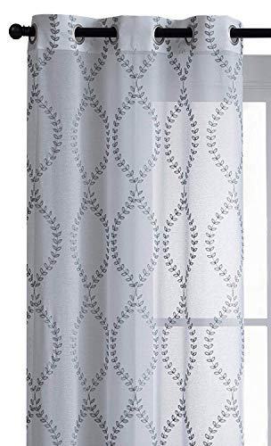 - VCNY Home 2 Pack Justine Embroidered Trellis Matte Sheer Grommet Curtain Panels - White/Gray