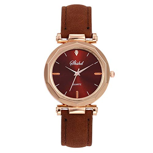 Toamen Womens Quartz Watches Sale Luxury Numeral Analog Crystal Wristwatch Round Dial Case PU Leather Band