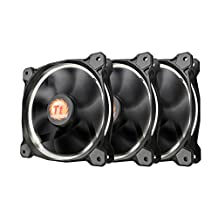 Thermaltake CL-F055-PL12WT-A Riing 12 Static Pressure Circular Ring White Led Case/Radiator Fan with Anti-Vibration Mounting System, 3 Pack Cooling