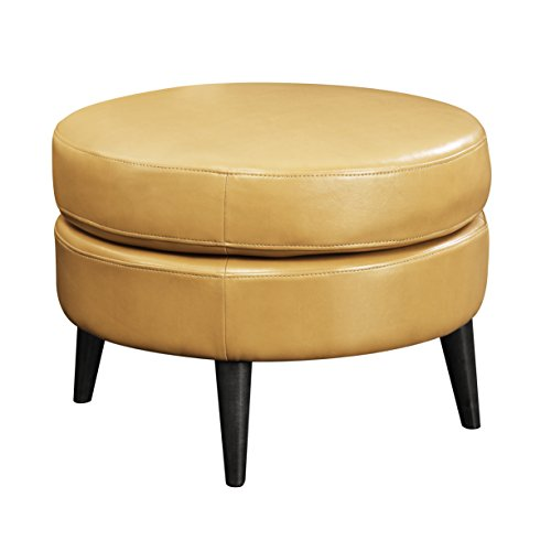 Emerald Home Oscar Saddle Ottoman with Faux Leather Upholstery, Fixed Cushion, And Solid Wood Legs