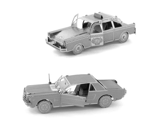 Fascinations Metal Earth 3D Laser Cut Models - 1965 Ford Mustang AND NYC Checker Cab Car = SET OF 2 3d Diecast Medals