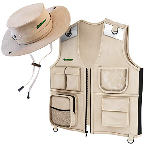 Outdoor Explorer Set - Cargo Vest & Hat for Young Kids Ages 4-6 - Durable Fabric, 5 Pockets, Safety Reflective Strips - Great Safari Gift for The Young Backyard Explorer - Park Ranger - Paleontologist ()