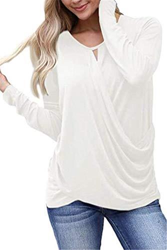 Longues Ibelive Femmes Occasionnels Unie ruch Longues Blouses V col Manches de Couleur Blanc Manches r1TrqYw