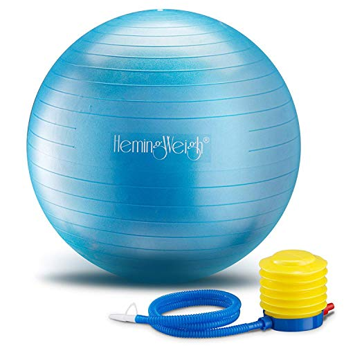 HemingWeigh Static Strength Exercise Stability Ball with Foot Pump | Perfect for Fitness Stability and Yoga | Helps Improve Agility, Core Strength, and Balance (Blue, 65cm)