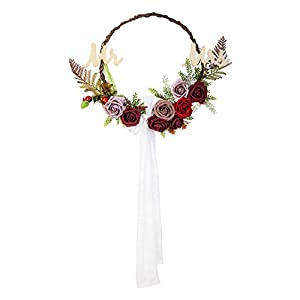 Ling's moment Chic Bohemian Artificial Flowers Garland Wreath - Handmade Mr & Mrs Floral Hoop Wreath with Burgundy Dusty Fake Roses & Sash Bow for Christmas Day Wedding Party Home Front Door Decor 1