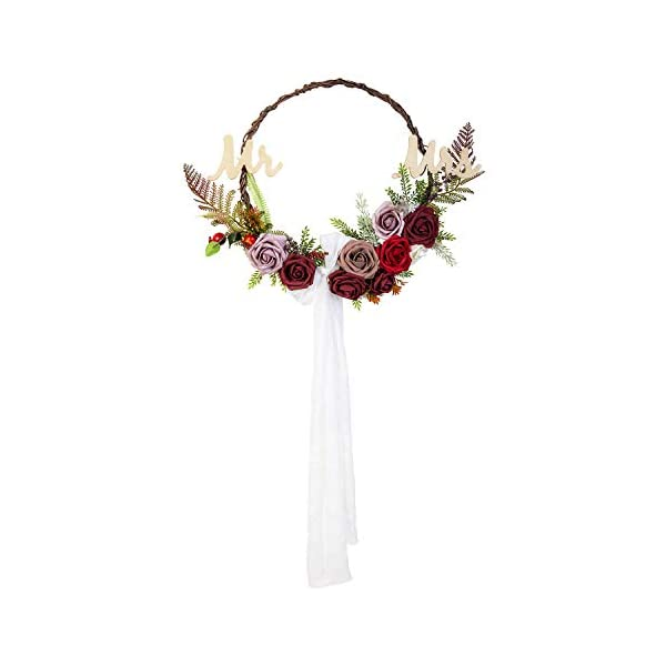 Lings-moment-Chic-Bohemian-Artificial-Flowers-Garland-Wreath-Handmade-Mr-Mrs-Floral-Hoop-Wreath-with-Burgundy-Dusty-Fake-Roses-Sash-Bow-for-Christmas-Day-Wedding-Party-Home-Front-Door-Decor