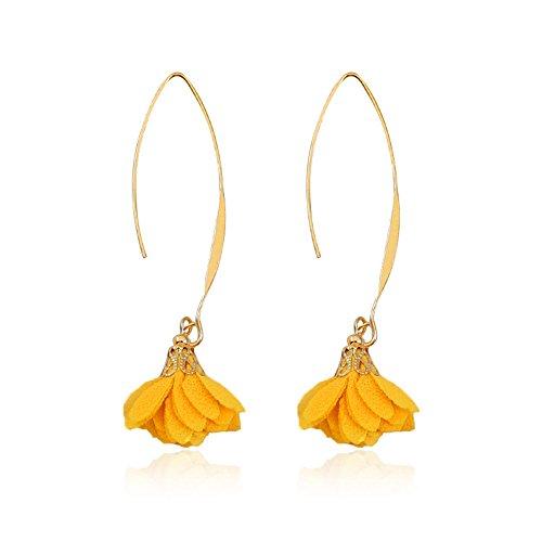 (MUZHE Threader Drop Earring - Charm 3D Flower Dangle Earrings Vintage Punk Simple Geometric Club Ear Line Jewelry (Yellow))