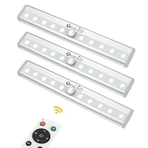 Remote Control Cabinet Lights, OxyLED Dimmable 10-LED Wireless Under Cabinet Lighting, Battery Operated Closet Light, LED Night Light Bar with Magnetic Strip for Closet, Cabinet, Wardrobe (3 -