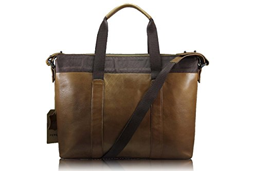 FERETI borsa portatile tracolla Marrone chiaro uomo vera pelle e Leone 3D