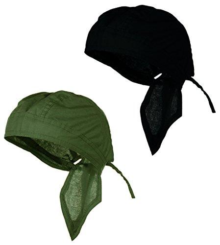 Doo Rag Du Rag Do Cotton Solid Color Bandana Head Wrap Chemo Cap (Olive Drab OD Green and (Tan Olive Drab)