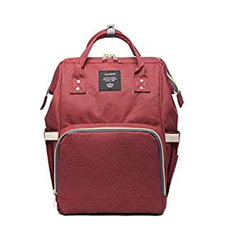 LEQUEEN Diaper Bag Multi-function Baby Diaper Backpack Nappy Bags, Mom Dad Travel Backpack Large Capacity Baby bags (USB Charging Port - Burgundy)