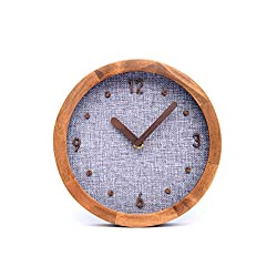 Driini Burlap Analog Wood Wall Clock (8) - Battery Operated with Silent Sweep Movement - Decorative, Rustic Wooden Clocks for Bedrooms, Kitchen, Living Room, Office or Classroom