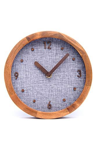 Driini Burlap Analog Wood Wall Clock (8